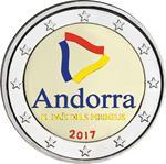 Andorra 2 Euro 2017 Pyreneeën Land Gekleurd