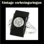 Vintage verlovingsring met edelsteen