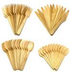 Bamboe bestekset, lepels, messen en vorken 48 delig