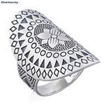 Zilveren flower art mandala ring