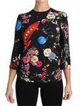 Dolce & Gabbana Black Floral Moon Robot Rocket Top IT36 XXS