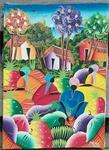 Haitian Art marktscene Acrylverf op doek