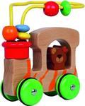 Houten safari auto beer - met motoriek spiraal en houten kra