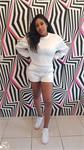 White Sweater Short Set — ONE SIZE