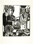 Houtsnede Pilatus wies zich de handen..., Rudi Seidel,1985