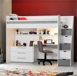 Neo hoogslaper met bureau en ladekast in wit met grijs