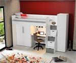 Neo hoogslaper met bureau en twee kledingkasten in wit met g