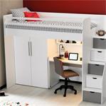 Neo hoogslaper met bureau en kledingkast in wit met grijs