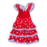 Spaanse flamenco jurk Niño rood wit Maat 6 - lengte 70 cm, k