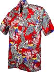 Karmakula, Parrots Red Cotton Hawaiien Shirt.