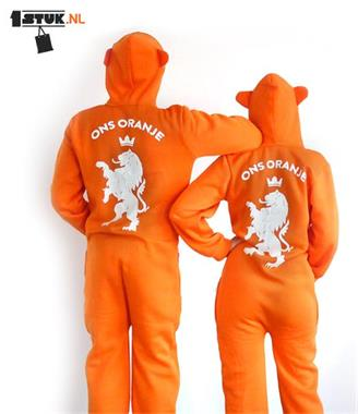Grote foto oranje pak juichpak kleding dames huispakken