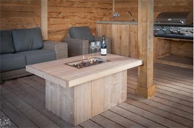 Grote foto inbouwhaard vuurtafel tafelhaard tafel met vuur tuin en terras barbecues en vuurkorven
