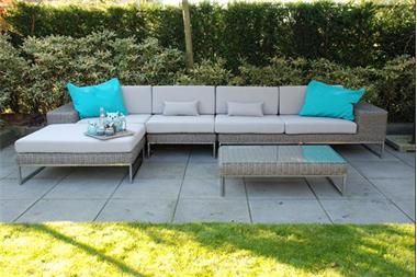 Grote foto loungeset lounge tuin terras wicker grijs nieuw. tuin en terras tuinmeubelen