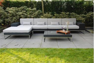 Grote foto loungeset lounge tuin terras wicker zwart nieuw. tuin en terras tuinmeubelen