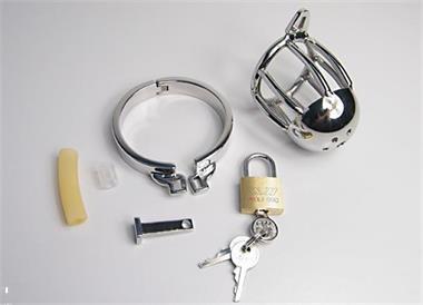 Grote foto stainless steel male chastity device cock cage 1 erotiek kuisheidskooien