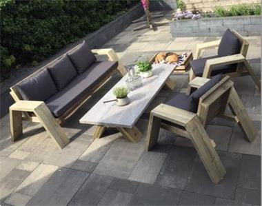 Grote foto moderne loungeset extra dik steigerhout tuin en terras tuinmeubelen