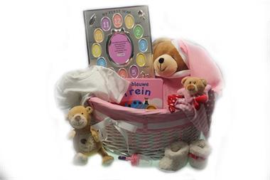 Grote foto kraamcadeau meisje beer my first year met babynaam kinderen en baby kraamcadeaus en geboorteborden