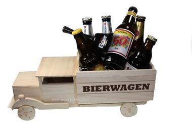 Grote foto bierwagen van hout voor verjaardag diversen cadeautjes en bonnen