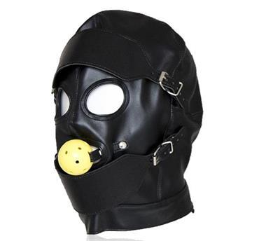 Grote foto pu lederen bondage kap met oog masker mondkap erotiek maskers