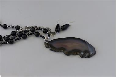 Grote foto onyx 10 mm ketting oorhanger set sieraden tassen en uiterlijk kettingen