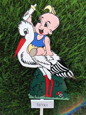 Grote foto geboortebord of ooievaar met of zonder nest. kinderen en baby kraamcadeaus en geboorteborden