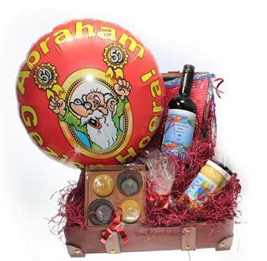 Grote foto abraham geschenk in koffer wijnetiket naam jarige diversen cadeautjes en bonnen