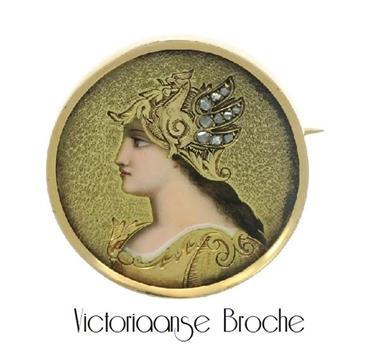Grote foto prachtige antieke victoriaanse broche sieraden tassen en uiterlijk medaillons en broches