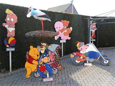 Grote foto geboortebord beer met blauwe of roze strik kinderen en baby kraamcadeaus en geboorteborden