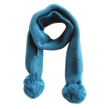 Grote foto gebreide sjaal met pompons blauw kinderen en baby overige