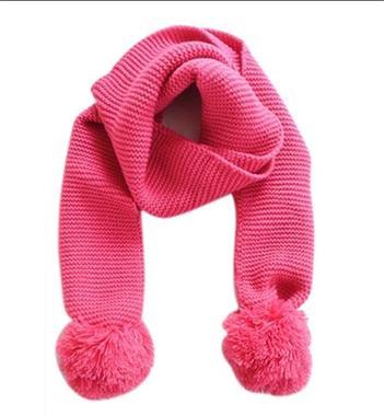 Grote foto gebreide sjaal met pompons pink kinderen en baby overige