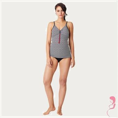 Grote foto noppies zwangerschaptankini top noor zwart wit kleding dames badmode en zwemkleding