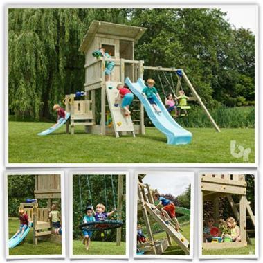 Grote foto dubbele schommel prestige garden premium kinderen en baby houten speelgoed