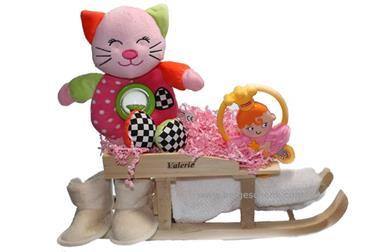 Grote foto baby cadeaupakket met roze knuffel kinderen en baby babyshower