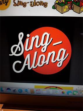 Grote foto sing a long muziek en instrumenten zangers en zangeressen