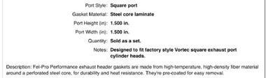 Grote foto header pakkingen 1404 chevy artikelnummer fel 1404 auto onderdelen overige auto onderdelen