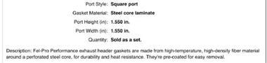 Grote foto header pakkingen 1405 chevy artikelnummer fel 1405 auto onderdelen overige auto onderdelen