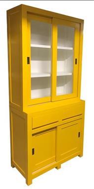 Grote foto winkelkast design geel wit 100cm breed greeploos huis en inrichting buffetkasten
