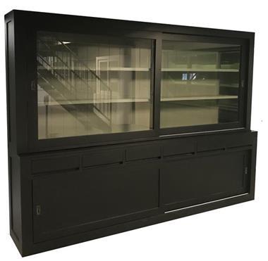 Grote foto buffetkast design zwart grijs 300cm breed huis en inrichting buffetkasten