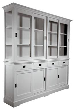 Grote foto vitrinekast loenen wit wit 220 x 220cm huis en inrichting buffetkasten