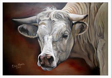 Grote foto olieverfschilderij van een koe op hout huis en inrichting kunst