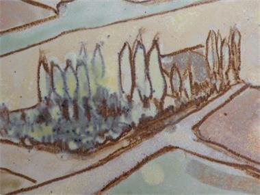Grote foto tegel. g r o o t. afm. 54 x 40 cm. antiek en kunst wandborden en tegels