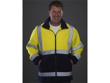 Grote foto veiligheids fleece jas met reflecterende strepen tuin en terras werkkleding