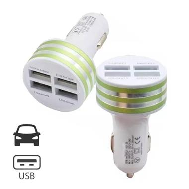 Grote foto high speed quad 4x usb port autolader carcharger groen 76612 telecommunicatie opladers en autoladers