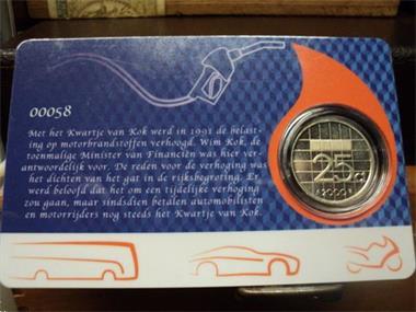 Grote foto exclusieve coincard het kwartje van kok postzegels en munten nederland