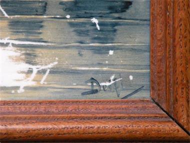 Grote foto tegel gesigneerd mesdag. ingelijst. antiek en kunst wandborden en tegels