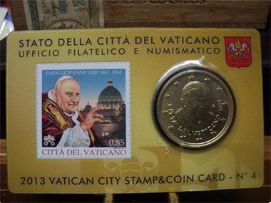 Grote foto exclusieve coincard vatican 2013 no 4 postzegels en munten euromunten