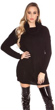 Grote foto koucla gebreide coltrui zwart kleding dames truien en vesten