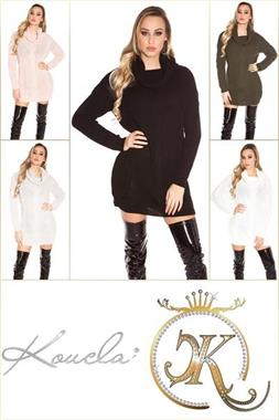 Grote foto koucla gebreide coltrui khaki kleding dames truien en vesten