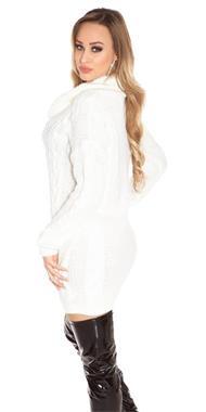 Grote foto koucla gebreide coltrui wit kleding dames truien en vesten
