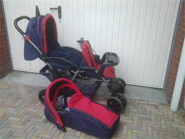 Grote foto dubbele kinderwagen met toebehoren kinderen en baby kinderwagens
